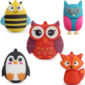 5 Pack Of Animal Flash Drives