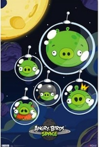 Angry Birds space poster with green pigs