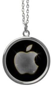 Apple Logo Bling Necklace from sterling silver