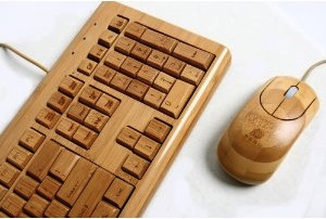 A natural keyboard and mouse made out of Bamboo