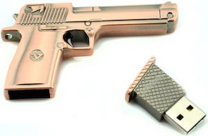 Bronze Gun Shaped USB Flash Drive