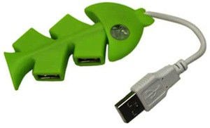 Green Fish Bone Hi-Speed 4 Port USB 2.0 PC Laptop Hub