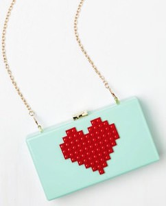 8-Bit Heart Clutch Bag