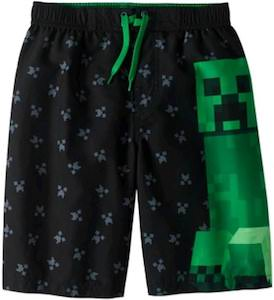 Kids Minecraft Creeper Swim Trunks