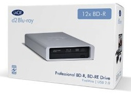 Lacie blu-ray burner with firewire and usb and it burns up to 12x the speed