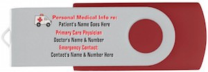 Personalized Medical Emergency USB Flash Drive