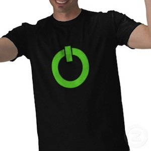 A t-shirt with a big green power button