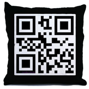 A pillow with a QR-Code on it