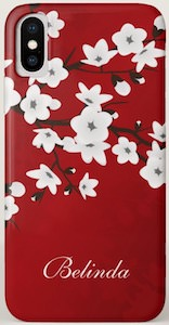 Red Cherry Blossom iPhone X Case