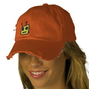 Robot baseball cap with a worn look