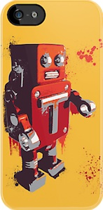 Red Paint Splatter Robot iPhone Case