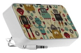 Doodle portable speaker with robots