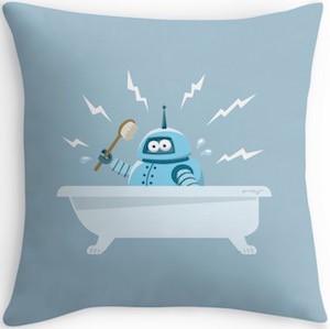 Robot Talking A Bath Throw Pillow