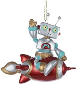Robot Sitting On A Rocket Christmas Ornament