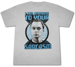Sheldon Cooper is immune to your Sarcasm a funny big bang t-shirt