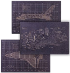 NASA Space Shuttle Blue Print Poster Set