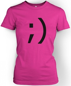 women's wink emoticon t-shirt