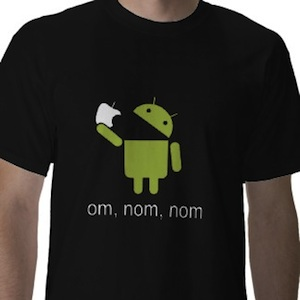 Android robot eats apple t-shirt