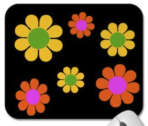 Colorful 60s mousepad flower power baby