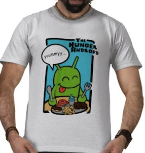 Hungry Google android on a funny t-shirt