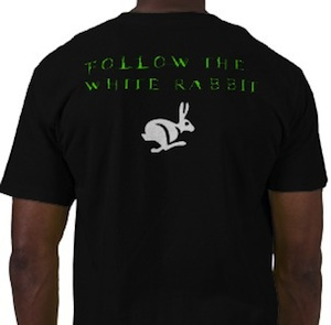 Follow the white rabbit t-shirt for the real matrix fans
