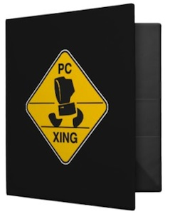 Back to school binder with a pc crossing road sign