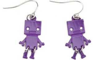 Purple Robot Earrings