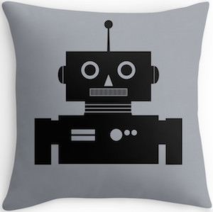 Retro Robot Throw Pillow or Pillow case