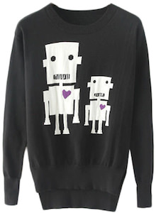 Two Robots With Hearts Women's Sweater