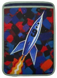 A macbook air sleeve with a Rocket printed on it
