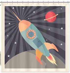 fun space rocket shower curtain
