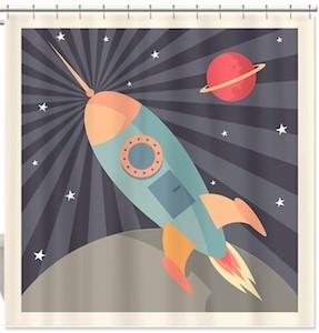 fun space rocket shower curtain