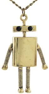 Retro Robot Pendant Necklace