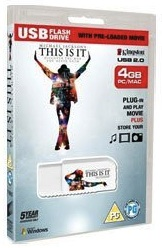 Kingston 4gb flash drive with the movie this is it by Michael Jackson on it