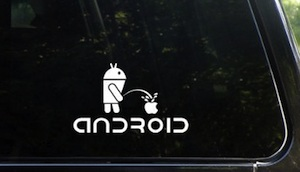 Android pissing on apple windows decal