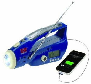 ER Radio And USB Charger And Flashlight with Solar And Crank Power