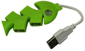 Green Fish Bone Hi-Speed 4 Port USB 2.0 PC Laptop Hub