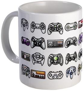 A video game controller mug