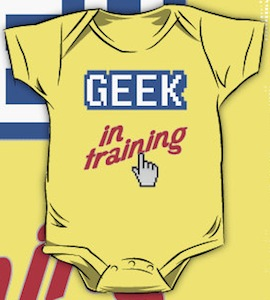 geek in training baby bodysuit