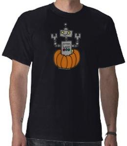 Robot In a Pumpkin T-Shirt