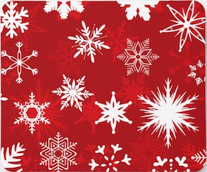Red Christmas Snowflakes Mousepad