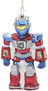 Red And Blue Robot Christmas Ornament
