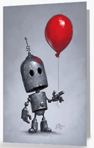 Robot With Balloon Greeting Card