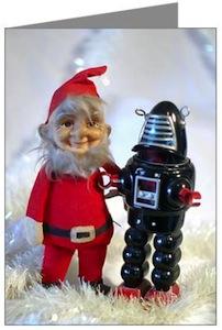 Santa And Robot Christmas Card