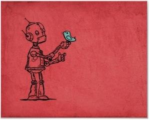 robot and bluebird poster