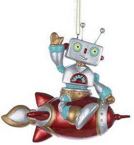Robot Sitting On A Rocket Christmas Ornament
