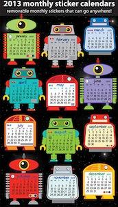 Robot Sticker Calendars 2013