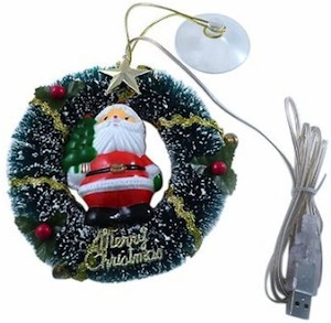 USB Santa And Christmas Wreath Decoration