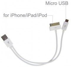 USB Charging Data Cable For Apple 30 Pins And Micro USB
