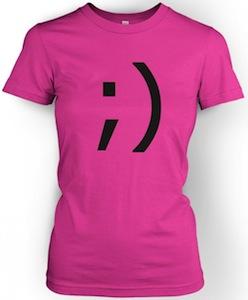 women's wink emoticon t-shirt